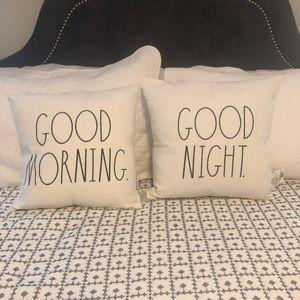 Rae Dunn Good Morning Good Night throw pillows